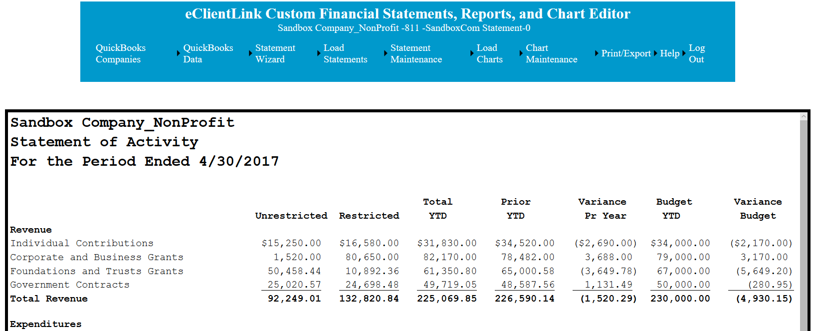 Sample eClientLink custom non-profit financial statement.